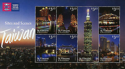 St Vincent & The Grenadines 2015 MNH Sites Scenes Taiwan 7v M/S Taipei Stamp Exh