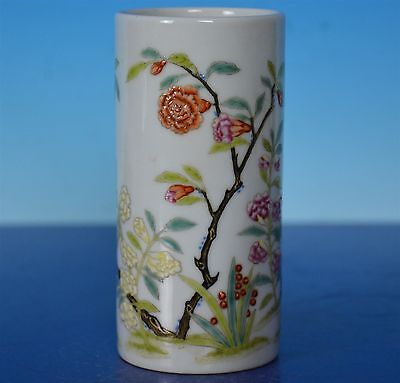 EXQUISITE ANTIQUE CHINESE FAMILLE ROSE PORCELAIN BRUSH POT MARKED YONGZHENG