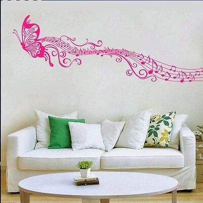 Music butterfly wall decal sticker Home art Decor VINYL removable ROSE RED PH4