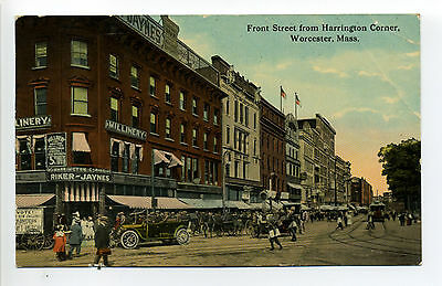 Worcester MA Mass Front Street view, old car, people, signs, stores 1914