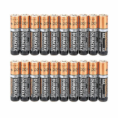 20 x Duracell Procell AAA Alkaline 1.5v Single Use Factory Fresh Bulk Batteries
