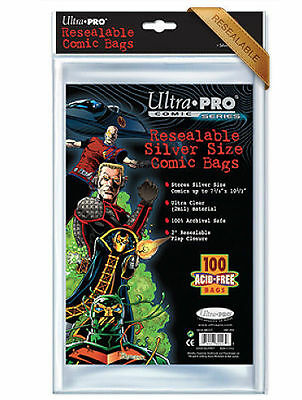 100-Pack Silver Size Comic Resealable Bags Clear Sleeve Pocket Ultra Pro Storage