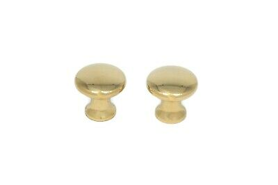 """2 Small Brass Knobs For Book Cases Antique Style Sold In Pairs 5/8"""" Solid Brass"""