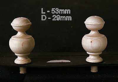 2 Wood FINIALS 53 mm for Antique Wall Clock / Barometer / Mirror / Furniture #6