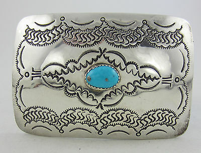 """Southwestern Stamped Sterling Silver Turquoise Belt Buckle - 3"""" x 2"""""""