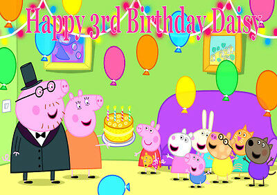 Personalised A4 Peppa Pig Birthday Party Edible Icing Sheet Cake Topper