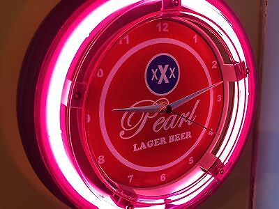 Pearl Beer Bar Store Lighted Man Cave Advertsing Neon Clock Sign*