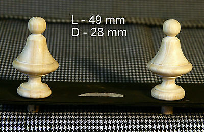 2 Wood FINIALS 49 mm for Antique Wall Clock / Barometer / Mirror / Furniture #7