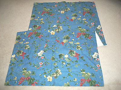 "NEW Waverly Chianti Blue Set of Two (2) Drapery Panels 42x84"" Green Red Floral"