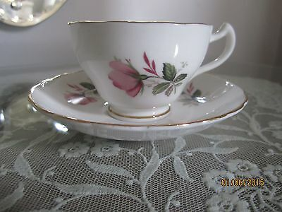 Regency Bone China Pink Rose Teacup and Saucer Made in England