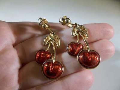 Vintage Gold Plated Red Enamel Cherry Clip Earrings Signed Avon