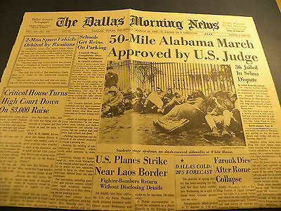 "3/18/65 Dallas News ""Alabama March Approved by US Judge"" /  Civil Rights Selma"