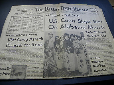 "3/9/65 Dallas Newspaper ""US Court Slaps Ban On Alabama March"" Selma"