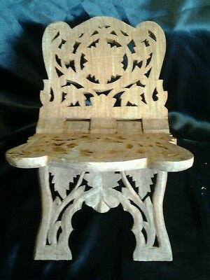 Antique Vintage Handcarved book holder/magazine rack. One of a kind. From India.