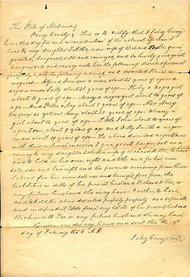 1856 State of Alabama Will - Father leaves 10 named slaves to his daughter