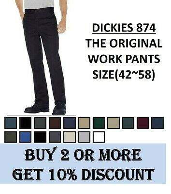 Dickies 874 Original Fit Work Pants Bottom Sizes(42~58), 9 Colors, NEW NWT