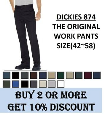 NEW MENS Dickies Original Fit Work Pants(#874) Bottom Sizes(42~58), 9 Colors