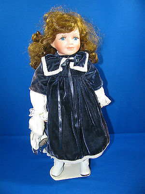 "VICTORIAN STYLE PORCELAIN DOLL 15 ½"" – ICE SKATING OUTFIT WITH STAND"