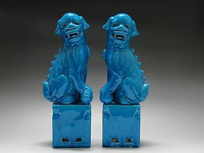 Chinese Rare Blue Glaze porcelain Carving One pair of lions Statue