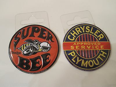 """(2) CHRYSLER PLYMOUTH & Dodge SUPER BEE Round Metal 2 3/16"""" Magnets for Tool Box"""