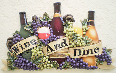 New WINE AND DINE Wall Plaque Wine Bottles Grapes Wall Art Cafe Kitchen Decor 3D