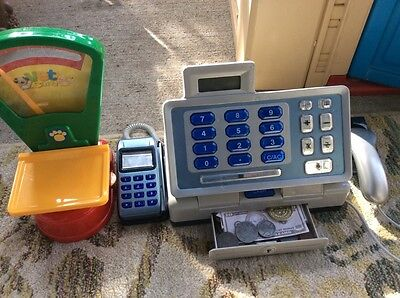 Lot Of Kids Cash Register And Weight Scale