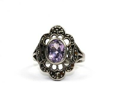 925 STERLING,VINTAGE FLOWER SHAPED PURPLE CRYSTAL MARCASITE ACCENTED RING,Size 7