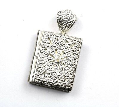 925 STERLING, VINTAGE RELIGIOUS BIBLE TWO PICTURES LOCKET PENDANT, 1.25 IN