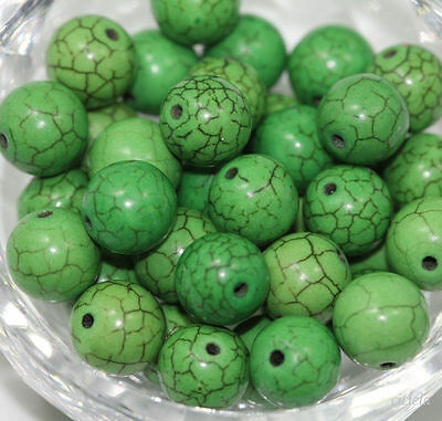 50pcs Green Turquoise Gemstone Round Loose Spacer Beads Jewelry Making 6mm