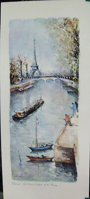 Home Decor, River Paris France, La Tour Eiffel et la Seine Art Print by Delarue