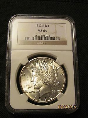 1922-S Peace Dollar NGC MS-64 Blast White Incredible Strike PQ Coin!