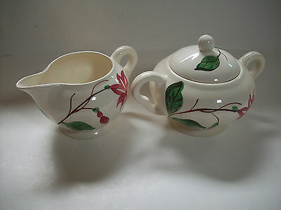 Blue Ridge Fuchsia Creamer and Covered Sugar Bowl, Southern Potteries