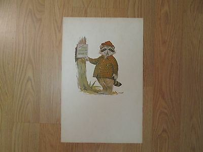 Howdy Raccoon 11 X 17 Inch Good Outdoor Manners Poster Smokey Bear Woodsy Owl