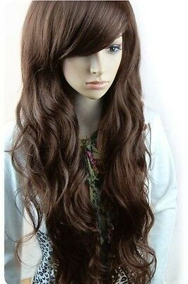 New Womens Girls Sexy Long Fashion Curly Full Wavy Hair Wig Hot Gift Light Brown