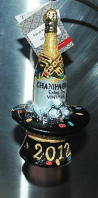 NEW Christopher RADKO Xmas Glass Ornament  TIP OF THE HAT Champagne Bottle