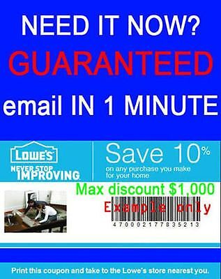 Instant delivery Two (2x) Lowe's 10% OFF Coupon Printable (In Store and online)