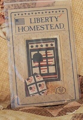 Liberty Homestead Americana Flag Heart Quilting Wall hanging Pattern