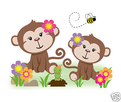 Safari Monkey Wall Art Mural Decal Baby Girl Nursery Jungle Animal Sticker Decor
