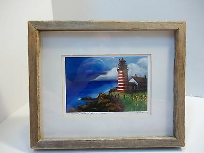Framed and Matted Maine Lighthouse Seaside Panting Original Signed by Artist