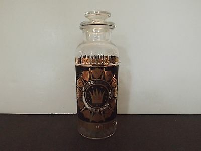 Atomic Decanter Bottle with Glass Stopper Gold & Black Crown Accents Vintage