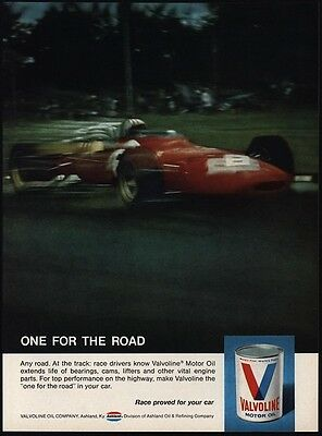 1969 VALVOLINE Motor Oil - Indy 500 Race Car - VINTAGE AD