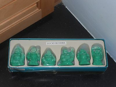 """LAUGHING BUDHAS- JADE GREEN RESIN-FENG SHUI-SET OF 6-ALL DIFFERENT W/MEANINGS-2"""""""