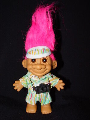 """Troll Doll 4 1/2""""  Russ Tourist with Camera Pink Hair"""