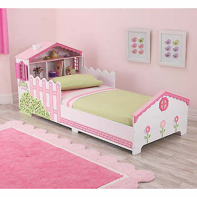 Kids Girls Dollhouse Pink and White Toddler Bed Toddlers Home Bedroom Kid's Room