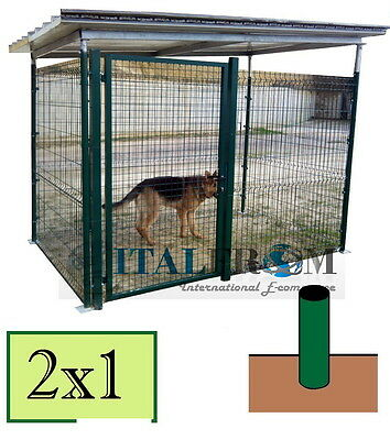 Gabbia Box Recinto per Cani in Rete Metallica Tetto in Lamiera-Pali a Interrare