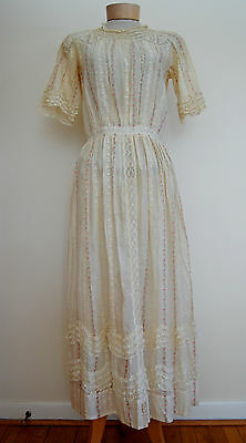 Lovely Edwardian Cotton Embroidered Lace Summer Dress