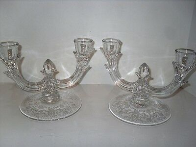 New Martinsville Viking Prelude Etched 2-light Candlestick Pair Elegant Crystal