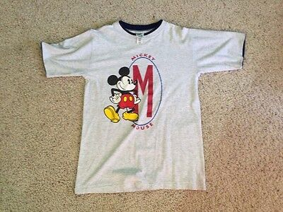 VINTAGE Disney Store Grey MICKEY MOUSE Ringer T-Shirt Size M Authentic
