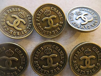 vintage 6 piece set chanel BIG brass 1.2'' cc logo 31 rue cambon buttons jacket