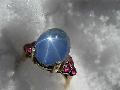 Vintage Natural Star Sapphire and Ruby 14 k Gold Ring Size 6